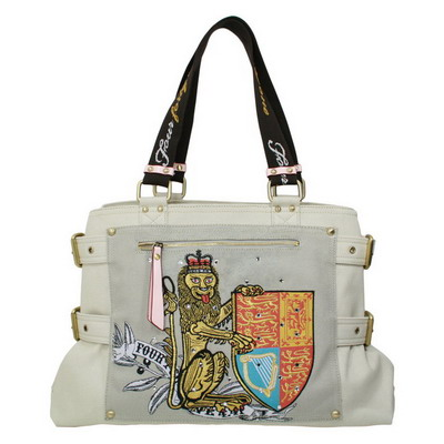 Standing Lion & Shield Travel Tote with swarovski stone