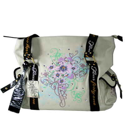 Floral Brush Travel Tote with swarovski stone